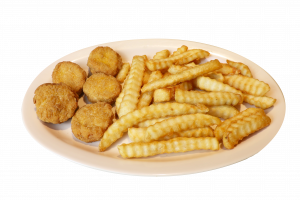 Chicken and nuggets with french fries