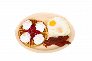 waffle with 2 eggs bacon or sausage